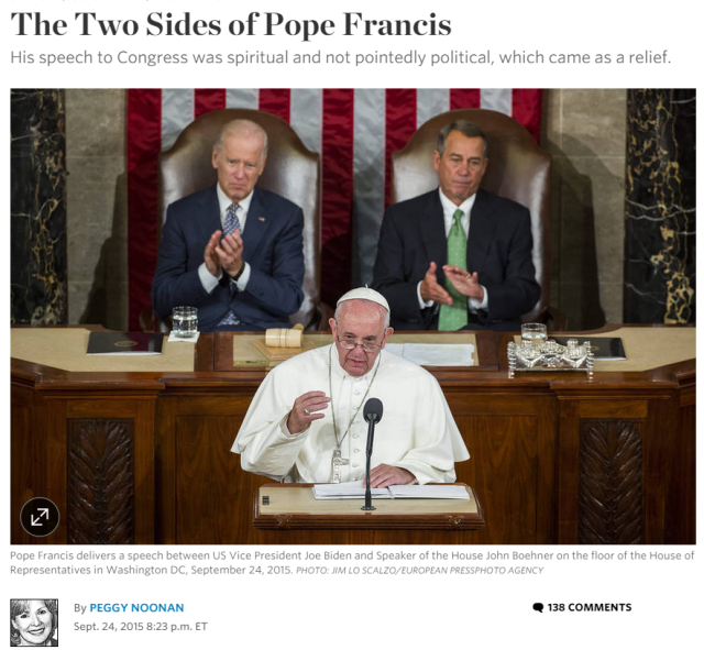 Peggy Noonan article pope