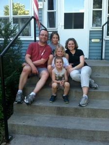 On the steps of our home in Saint Paul, MN