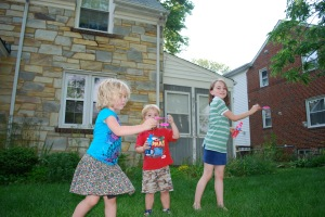 Kiddos playing on the lawn of our parsonage, Arlington, VA.